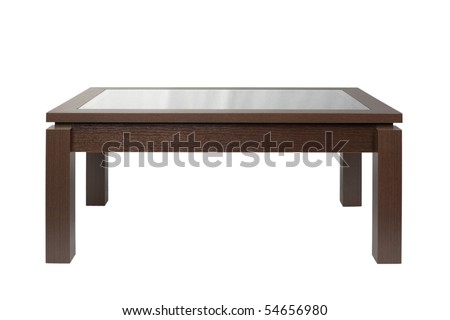 Coffee table dark wood isolated on white. - stock photo