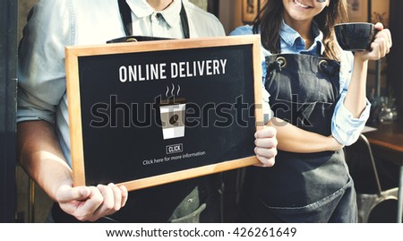 Coffee Take Away Order Online Delivery Menu Concept - stock photo