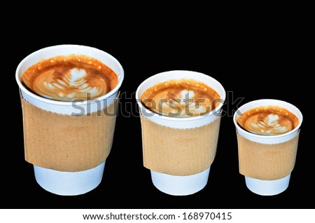 Coffee takeaway cups in three size on black background - stock photo