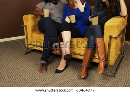 Coffee Talk- Diverse Girlfriends Hanging Out - stock photo