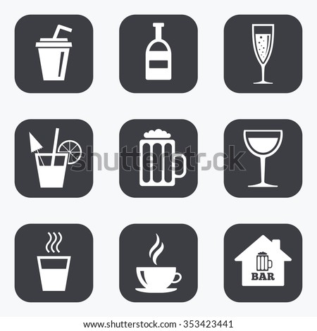 Coffee, tea icons. Beer, wine and cocktail signs. Soft and alcohol drinks symbols. Flat square buttons with rounded corners.