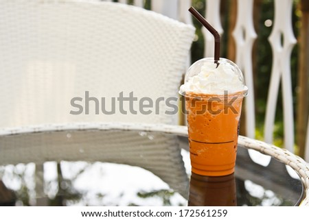 coffee tea on the garden table - stock photo