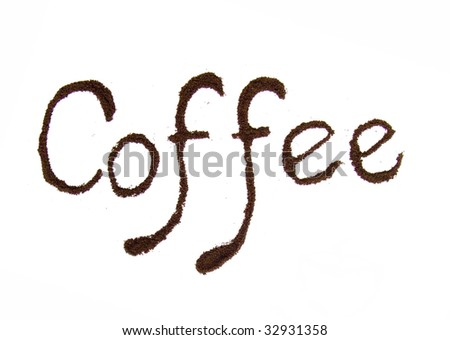 Coffee text isolated on white - stock photo