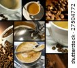 Coffee themed collage, coffee time, relax - stock photo