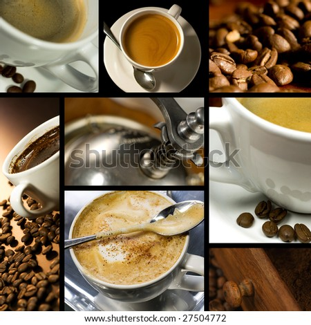 Coffee themed collage, coffee time, relax