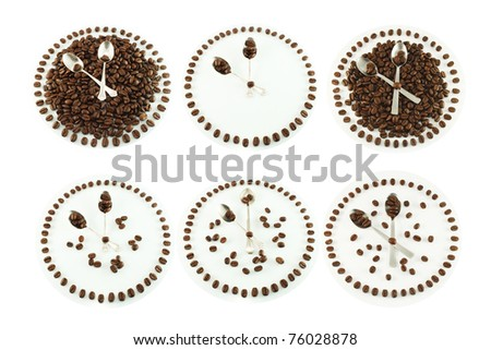 Coffee time, coffee beans and spoon in the shape clock face