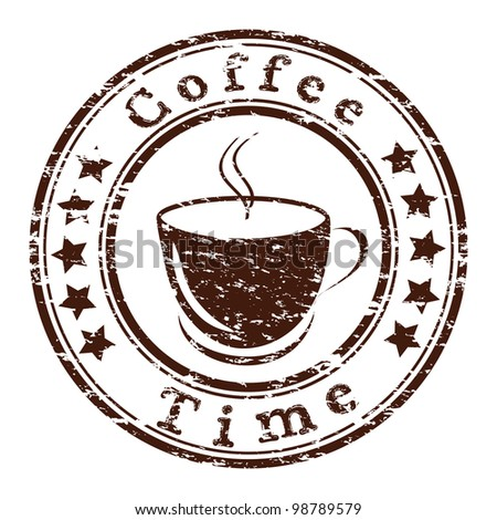 coffee time grunge stamp with a cup - stock photo