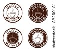 coffee time stamps set - stock photo