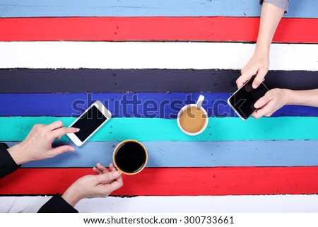 coffee time with colorful panels background. - stock photo