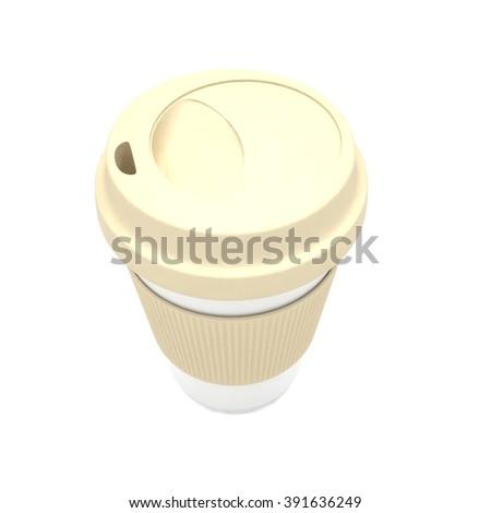 Coffee to go on white - stock photo