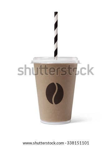 Coffee to go with lid and straw