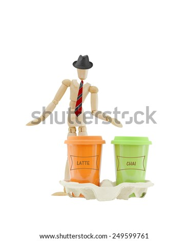 Coffee Travel Mugs Latte and Chai tea Mannequin wearing red striped tie and black hat isolated on white background - stock photo