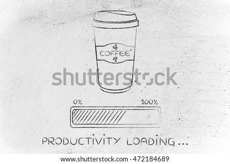 coffee tumbler with funny progress bar Productivity loading, awakeness-related concept