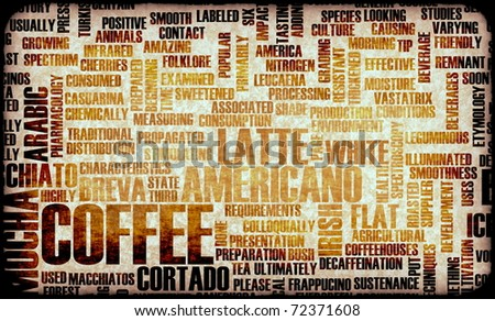 Coffee Varieties and Other Beverages Types Art - stock photo
