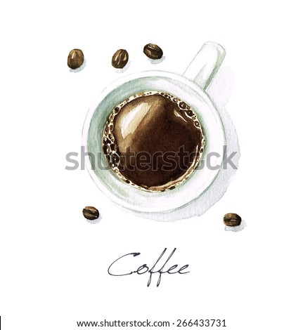 Coffee - Watercolor Food Collection - stock photo