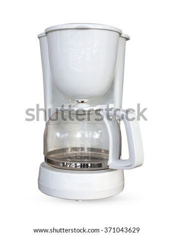 Coffee white machine isolated white background, use clipping path