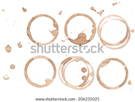 Coffee wine stain set for background and design