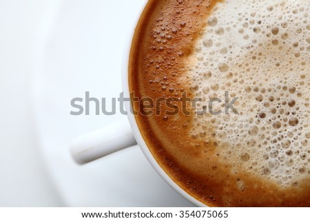 Coffee witch milk background - Espresso Cup. - stock photo