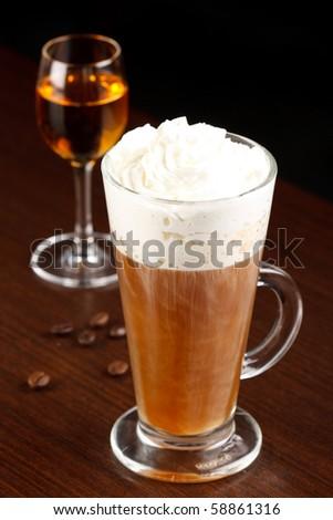 coffee with amaretto - stock photo