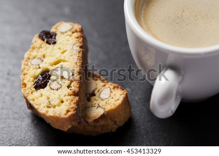 Coffee with biscotti or cantucci, traditional Italian biscuit