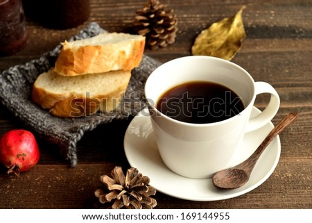 Coffee with bread.image of hot drink for winter season.