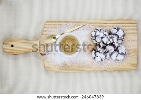 coffee with chocolate chip cookies - stock photo