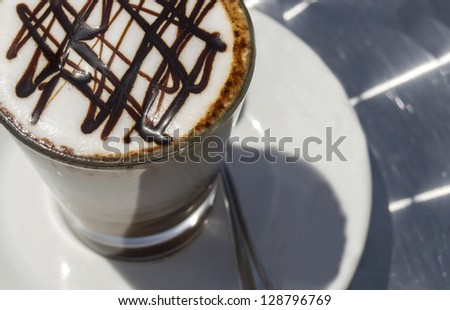 coffee with chocolate decorations
