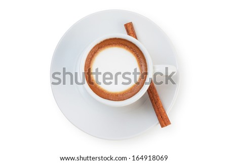 coffee with cinnamon stick top view isolated on white. - stock photo