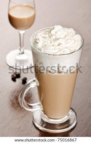 coffee with cream liqueur - stock photo