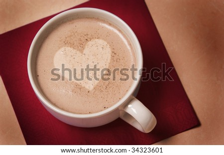coffee with heart center - stock photo