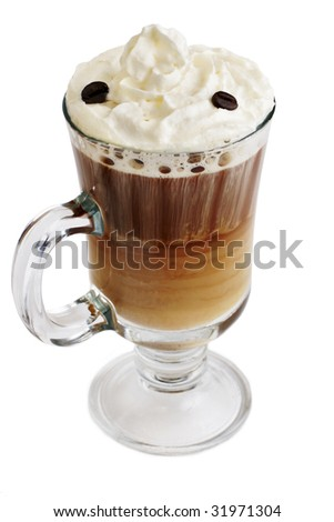 coffee with ice cream on white background