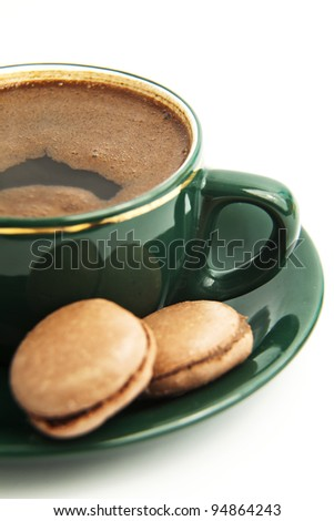 Coffee with macarons - stock photo