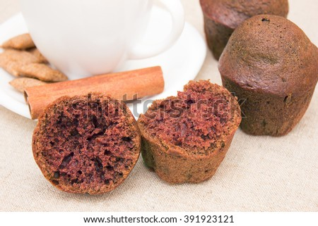 Coffee with milk and chocolate muffins - stock photo