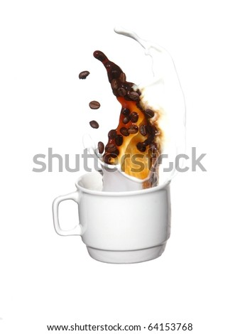 Coffee with milk and coffee grains - stock photo