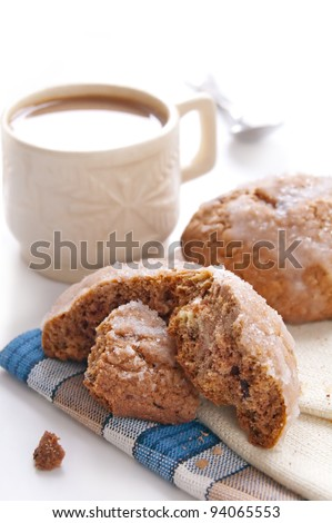 coffee with milk and cookie isolated on white background