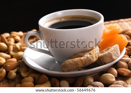 Coffee with nuts, fig and dried apricots still life