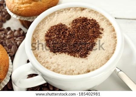 coffee with sweet heart  - stock photo