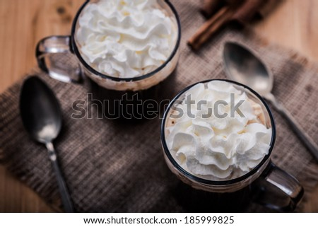 coffee with whipped cream  - stock photo
