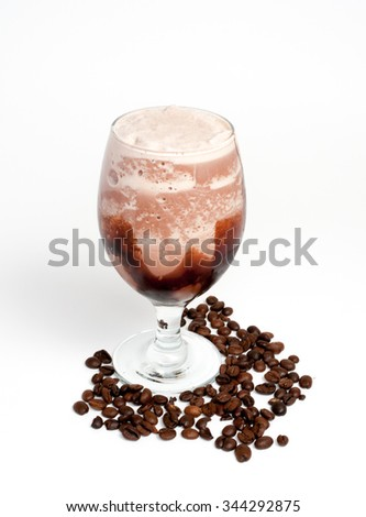Coffee with whipped cream and chocolate coffee beans on white background cup base