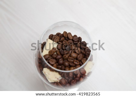 coffee with white chocolate in a glass