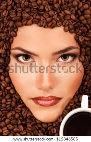 coffee woman beauty face beautiful make-up with cup - stock photo
