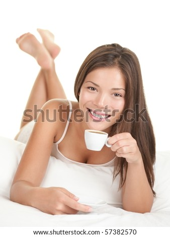 Coffee woman in bed. Woman in bed drinking espresso coffee in the morning. Isolated on white background. - stock photo