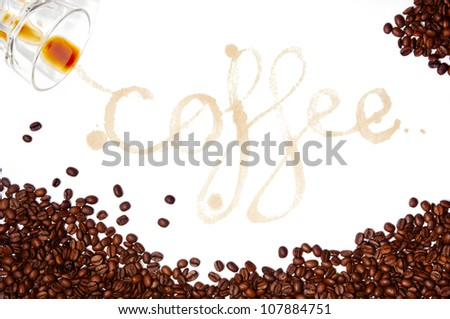 Coffee written as a word in coffee stains with coffee beans around isolated on white - stock photo