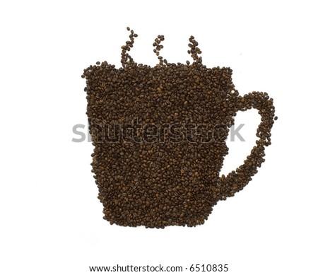 coffeemania,coffee beans make a coffee cup - stock photo
