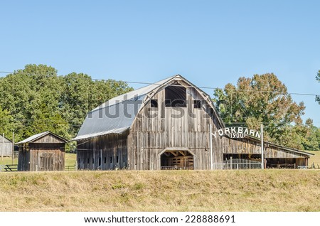 COFFEEVILLE, MS/USA - OCTOBER 2014: York Barn, Circa 1900 in rural Yalobusha County, represents barn architecture that was common in the Southern USA during the late 19th and early 20th Centuries. - stock photo