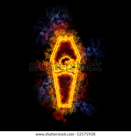 Coffin, covered in flames. - stock photo