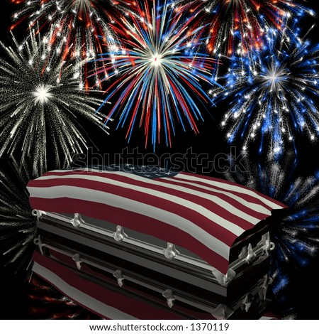 Coffin draped with the American Flag with Fireworks in the background - stock photo