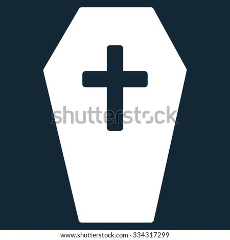 Coffin glyph icon. Style is flat symbol, white color, rounded angles, dark blue background.