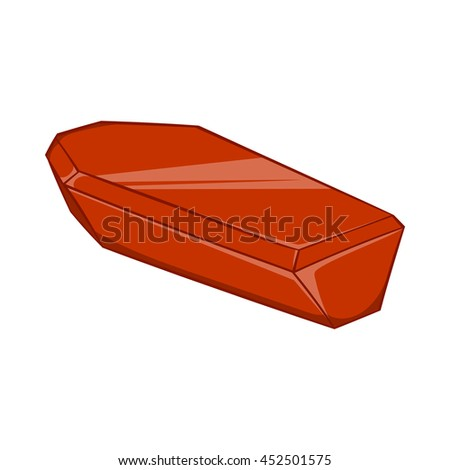 Coffin icon in cartoon style isolated on white background. Death symbol - stock photo