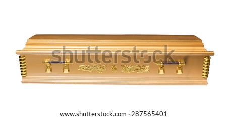 coffin isolated on white background - stock photo